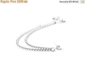 VALENTINES DAY SALE Silver Crystal Double Chain Ear Cuff (Single-Side)