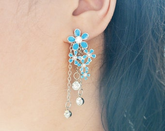 Blue Flowers and Crystals Ear Jacket Earrings