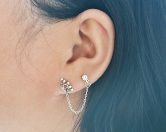 Silver Crown Double Pierce Lobe Cartilage Earrings (Single-Side)