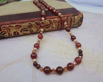 Red Agate Tiger Eye Necklace, Genuine Agate Necklace, Tiger Eye, Swarovski Crystal Necklace, Fall Necklace