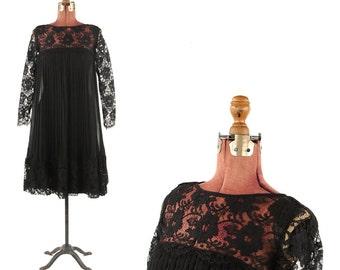 Vintage 1960's Lee Jordan Sheer Black Pleated Chiffon + Floral Lace A-line Cocktail Party Dress S