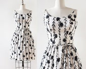 1950s Sundress with Black and White Floral Print / Cotton Dress / 1950s Cotton Day Dress / Black, White, Strappy Dress / extra small small
