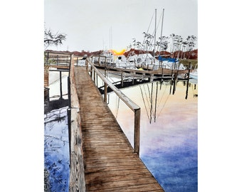 Florida Marina Scene Sunset Dock Number 1-  8 x 10