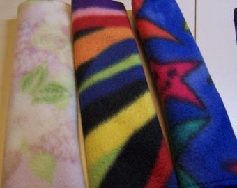 GREAT GIFT SALE ~ Pair of Fleece Car Seat Belt Covers or Cushions, Harness Covers, Backpack Strap Covers in Various Patterns