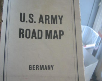 Vintage U.S. Army Road Map Germany Sheets 3 & 4