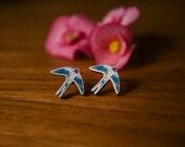 swallow bird stud earring, wooden laser cut