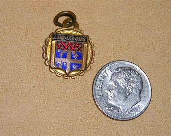 Vintage Solid Brass Enamel Juan-Les-Pins Charm Or Pendant France 1930's Jewely 1035