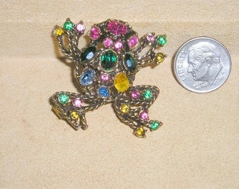 Vintage Multi Colored Rhinestone Jumping frog Brooch Figural 1960's Jewelry 122