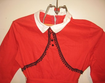 Vintage red child's dress, a designer fashion for moppets, vintage little girl dress, vintage red children's dress