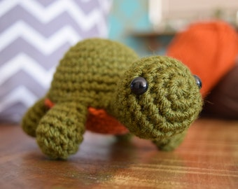 Turtle Tortoise Amigurumi Plushie Green/Orange