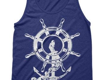 Anchor Ship Wheel Tri-Blend Tanktop - American Apparel Tshirt - XS S M L Xl (Color Options)