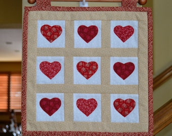 Valentine Red Hearts Appliqué Wall Hanging