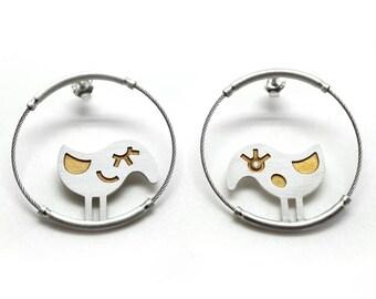 Birds- handmade gold-plated silver circle earrings