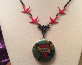 LOVE tattoo locket w/ sparrows  Sailor Jerry style