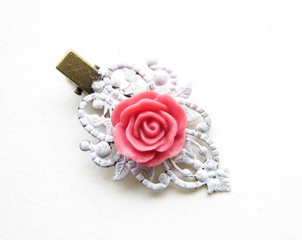 Haarclip,hairclip,Haar-Accessoire,Hair Accessories, Shabby Chic, Romantic,Braut,bride,rosa,rose,pink