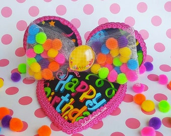 Happy Birthday Confetti Fascinator In Bright Colors with Pom Pom Bow and Round Ears- Original Design By Hat and Mouse