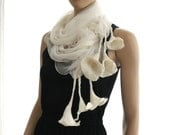 Nuno felt scarf Long - silk and wool - White handmade .A beautifully made neck piece