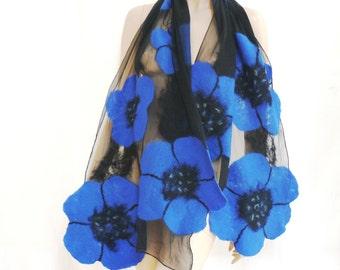 Felted scarf, Merino flowers scarf, Nuno Felted Shawl, Felt silk scarf, Silk wrap, Womens silk scarf, unique scarf, silk scarf, Blumen