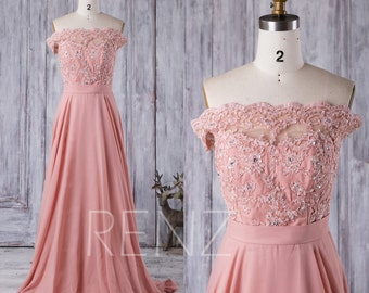 2016 Coral Bridesmaid Dress Long, Lace Illusion Off the Shoulder Wedding Dress, Strapless Prom Dress, A Line Chiffon Evening Gwon (X016)