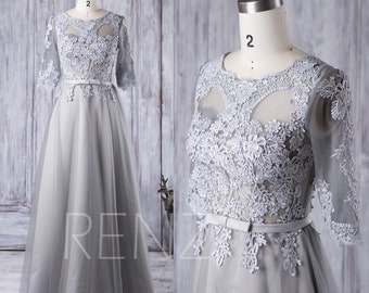 2016 Light Gray Mesh Bridesmaid Dress, Lace Illusion Wedding Dress with 3/4 Sleeves, A Line Prom Dress, Long Evening Gown Floor (XS053)