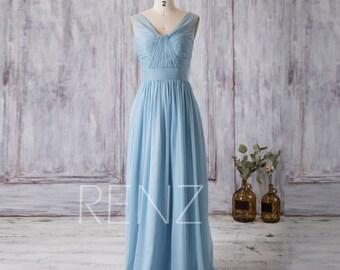 2016 Chiffon Light Blue Bridesmaid dress, Long Wedding dress, V neck Party dress, A Line Formal dress, Maxi dress floor length (F150B)