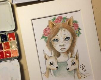 """Original pop surreal graphite and watercolor on paper by Olivier Castillon """"la biche"""""""