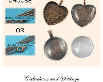 1 x 23mm or 25mm Round  or 25mm Heart, Antique Copper Pendant Bezels Kit  - AUSTRALIA