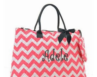 Personalized Chevron Large Tote Bag  Coral & White with Gray Trim Quilted Overnight Bag Monogrammed FREE