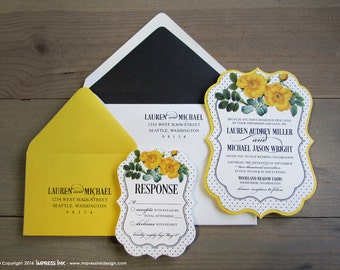 Buttercup Yellow Floral Wedding Invitation Sample | Flat or Pocket Fold Style