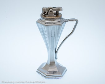 Working 1920s Ronson De-Light Superba Art Deco Automatic Table Lighter