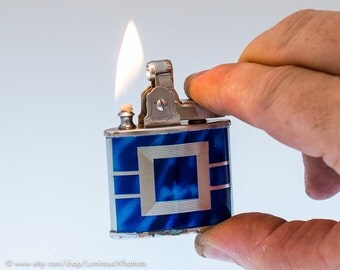NOS Distressed 1950s Japanese Art Deco Automatic Lighter with Blue Enamel Finish
