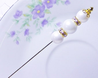 Hat Pin 6inch Classic  Pearls  for Wedding or Collecting  FREE Gift Box