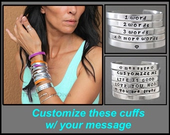 "Hand Stamped CUFF - Adjustable PERSONALIZED Stackable Bangle Cuff Bracelet w/ Date Message Quote Name - 12 Gauge 1/4"" Wide Aluminum - Usa"
