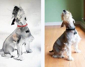 Custom Pet Portrait, watercolor painting of your pet, watercolor artwork, Miniature Schnauzer painting,  5x7, 8x10, 11x14,  from your photo