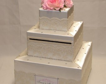 Elegant Wedding Card Box- Lace design-any colors
