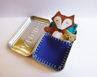 felt fox in tin - Fox in a Box™ w/ blue bedding - wool felt fox & teddy bear in Altoids Tin - travel toy - purse toy - ready to ship - B01
