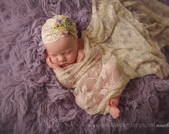 Dusty Lavender, Mint green and Ivory Newborn Slouch/Turban Hat Photo Prop