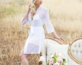 SALE - Ready to Ship - Lace Bridal Robe, Lingerie, Boudoir, Bridal Shower Gift, Bachelorette party Gift, Honeymoon, Lace Kimono, White Lace