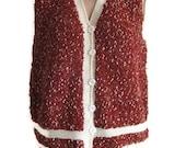 Vintage Vest,Hand-knitted Vest,Acrylic Vest,Claret Red with White STRIPED,Grandmother Vest,Large Boho Vest,Ethnic Vest,Waistcoat,Unisex Vest