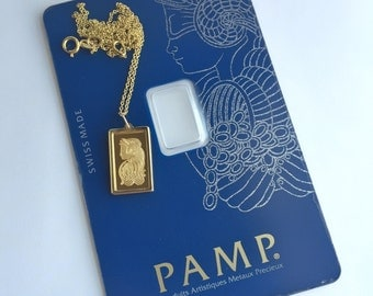 Pure Gold 1 gram Lady Fortuna Pamp Suisse Pendant Necklace | ready to ship!