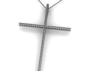 Skinny Diamond 14k Gold Cross Pendant Necklace accented by 67 small round diamonds 0.67ct | made to order for you within 5-7 business days
