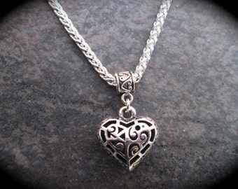 """SALE Puffed filigree Heart Necklace on shiny silver Wheat chain 16 1/2"""" with 3"""" extender Great Gift!"""