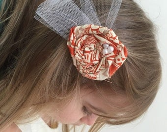Rolled Fabric Flower Hair Clip, Burnt Orange and Ivory - baby, girl, wedding, prom, women