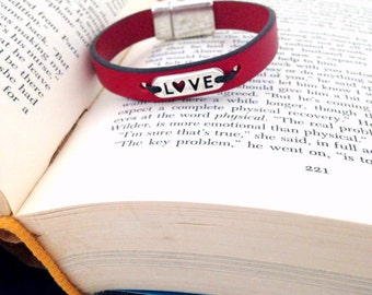 Love Leather Bracelet. Choose Bracelet Color. Magnetic Clasp Premium Leather Bracelet.
