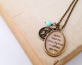 Spirit Lead Me Where My Trust is Without Borders.  Oceans Song Necklace.  Vintage Style Necklace.