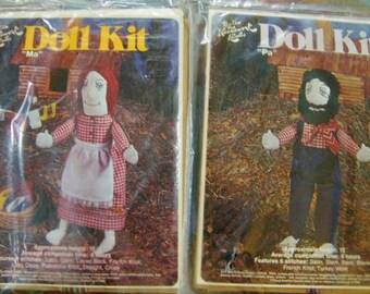 Vintage Doll Kits, Pair of 2, Folk Dolls, Craft Kits, Ma and Pa Dolls, Folk Art Dolls, 15 inch dolls, Unusual, Sewing Project