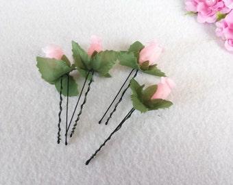 10  Beautiful Light Pink Rose Hair Pin.