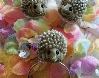 Hedgehog Set of Earrings and Adjustable Ring