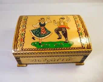 Vintage Bulgaria Wood Box - Pyrography Folk Art - Colorful Hand Painted - Jewelry Trinket Treasure