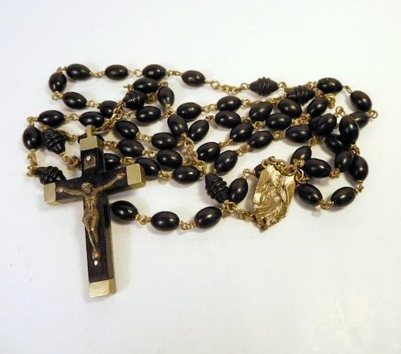 Religious Flat Acrylic: FRENCH ROSARY FRANCE Vintage Plastic Prayer Beads Sacred